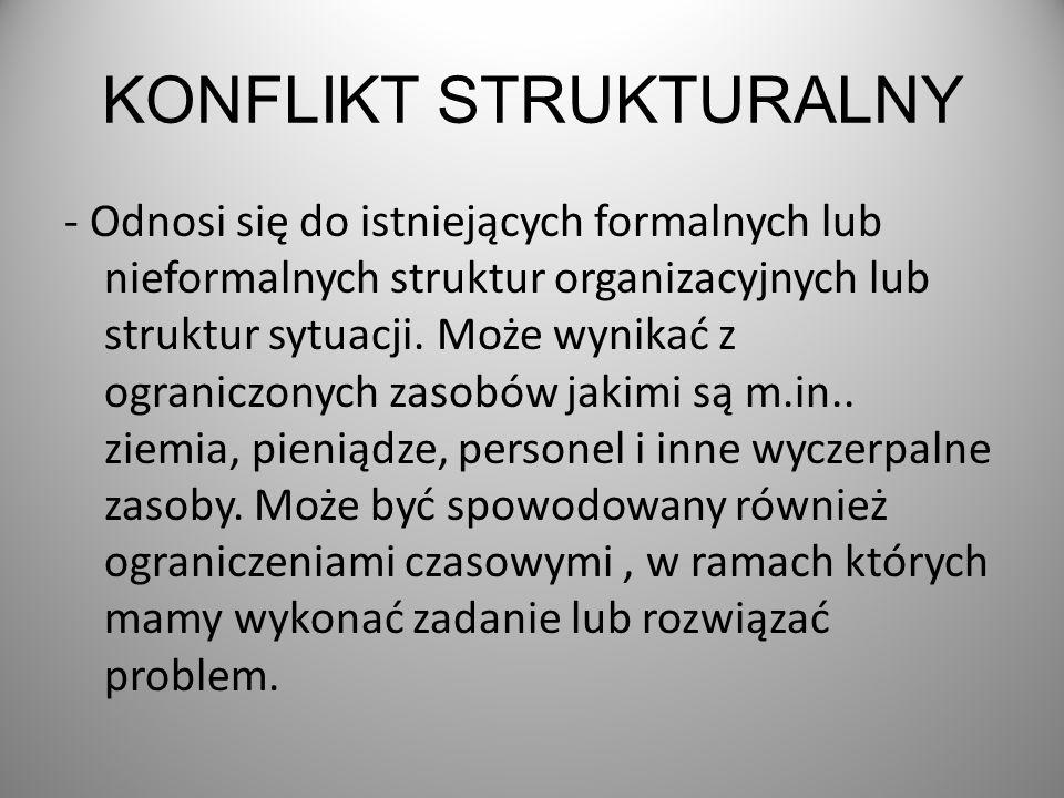KONFLIKT STRUKTURALNY - Odnosi się do istniejących formalnych lub nieformalnych struktur organizacyjnych lub struktur sytuacji.