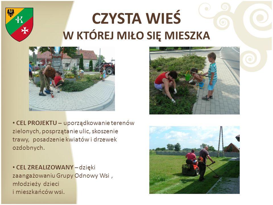 CZYSTA WIEŚ W KTÓREJ MIŁO SIĘ MIESZKA CEL PROJEKTU – uporządkowanie terenów zielonych, posprzątanie ulic, skoszenie trawy, posadzenie kwiatów i drzewe