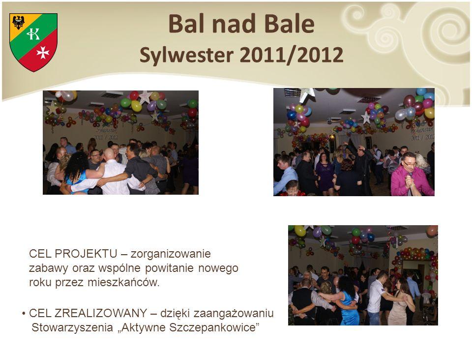 Bal nad Bale Sylwester 2011/2012 CEL PROJEKTU – zorganizowanie zabawy oraz wspólne powitanie nowego roku przez mieszkańców. CEL ZREALIZOWANY – dzięki