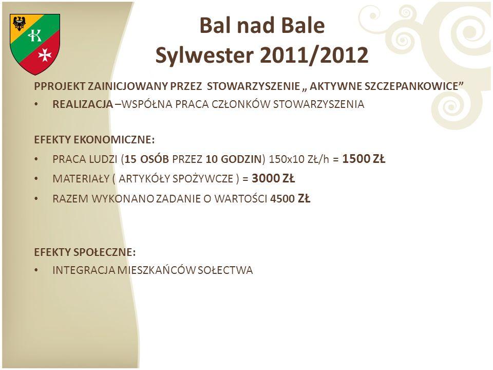 Bal nad Bale Sylwester 2011/2012 PPROJEKT ZAINICJOWANY PRZEZ STOWARZYSZENIE AKTYWNE SZCZEPANKOWICE REALIZACJA –WSPÓŁNA PRACA CZŁONKÓW STOWARZYSZENIA E