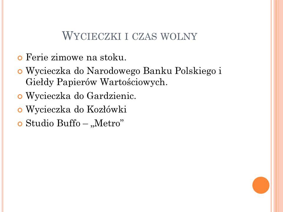 W YCIECZKI I CZAS WOLNY Ferie zimowe na stoku. Wycieczka do Narodowego Banku Polskiego i Giełdy Papierów Wartościowych. Wycieczka do Gardzienic. Wycie