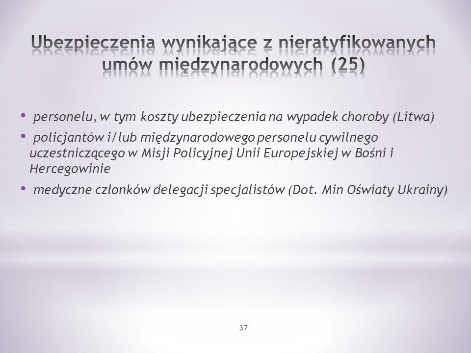 personelu, w tym koszty ubezpieczenia na wypadek choroby (Litwa) policjantów i/lub międzynarodowego personelu cywilnego uczestniczącego w Misji Policy