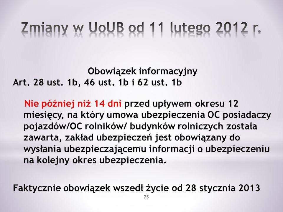 Obowiązek informacyjny Art. 28 ust. 1b, 46 ust. 1b i 62 ust. 1b Nie później niż 14 dni przed upływem okresu 12 miesięcy, na który umowa ubezpieczenia