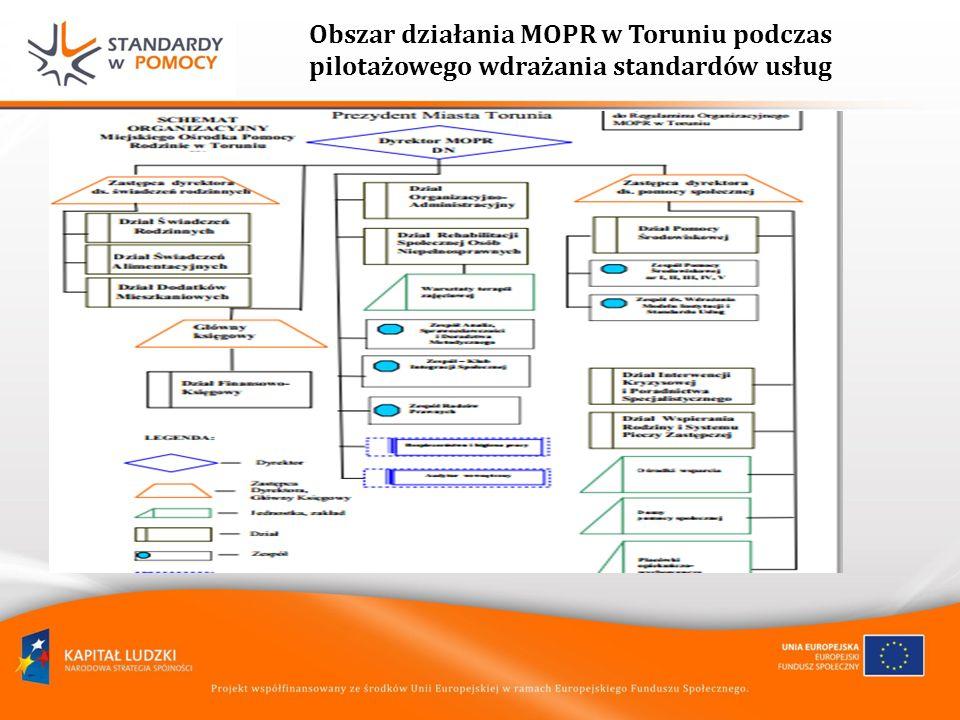 Obszar działania MOPR w Toruniu podczas pilotażowego wdrażania standardów usług