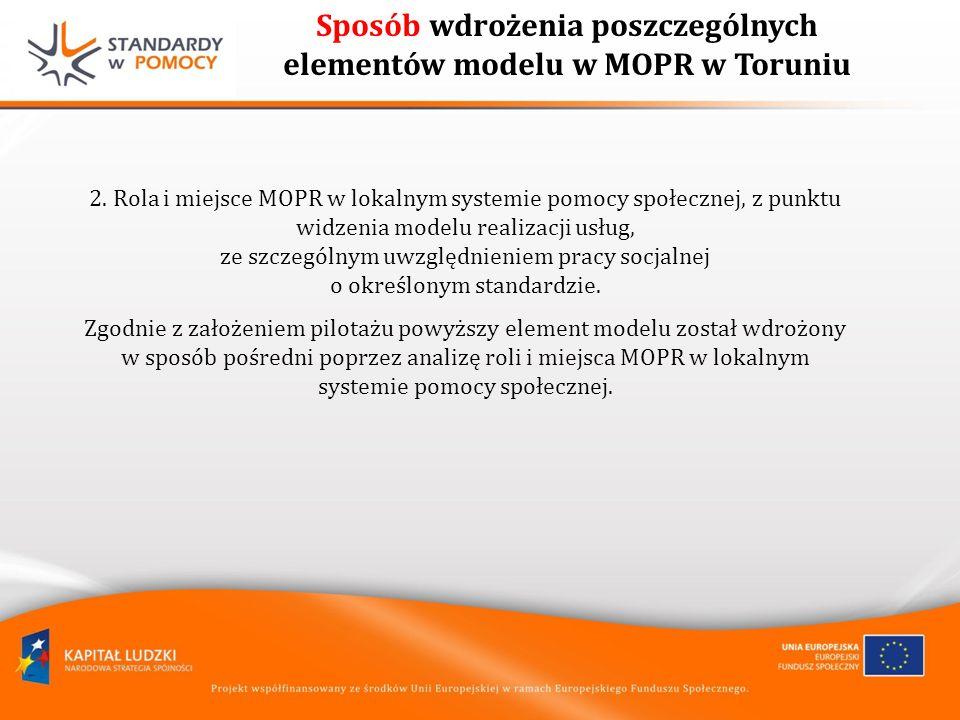 Sposób wdrożenia poszczególnych elementów modelu w MOPR w Toruniu 2.