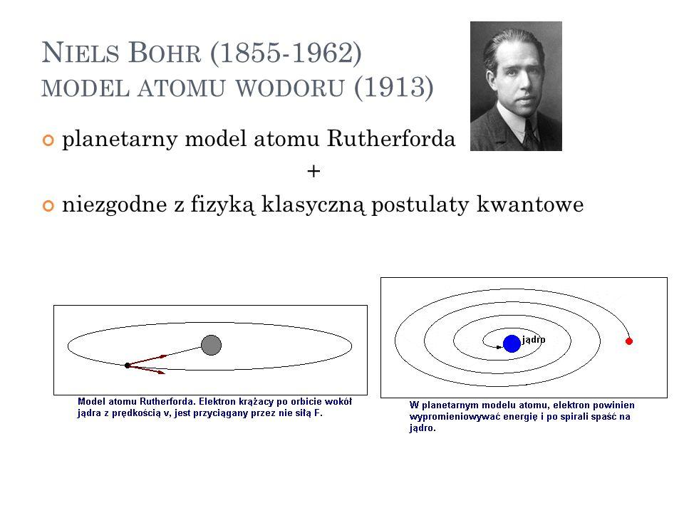 N IELS B OHR (1855-1962) MODEL ATOMU WODORU (1913) planetarny model atomu Rutherforda + niezgodne z fizyką klasyczną postulaty kwantowe 16