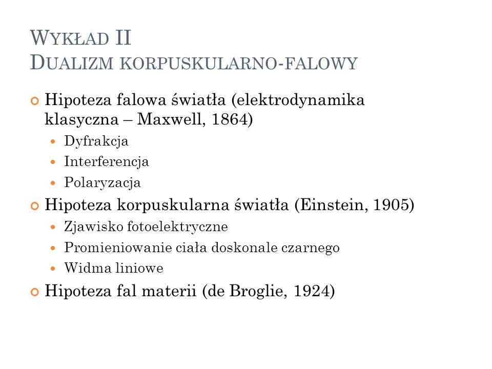 W YKŁAD II D UALIZM KORPUSKULARNO - FALOWY Hipoteza falowa światła (elektrodynamika klasyczna – Maxwell, 1864) Dyfrakcja Interferencja Polaryzacja Hip