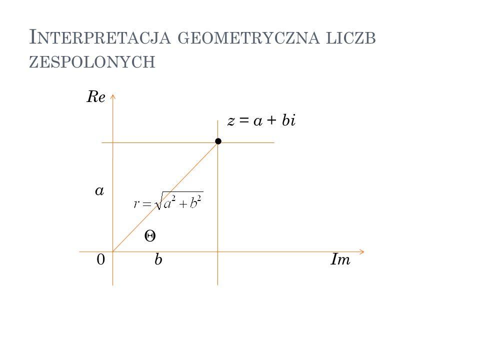 I NTERPRETACJA GEOMETRYCZNA LICZB ZESPOLONYCH Re z = a + bi a Θ 0 b Im 37