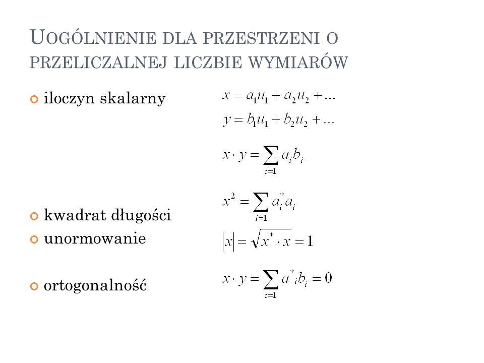 U OGÓLNIENIE DLA PRZESTRZENI O PRZELICZALNEJ LICZBIE WYMIARÓW iloczyn skalarny kwadrat długości unormowanie ortogonalność 40