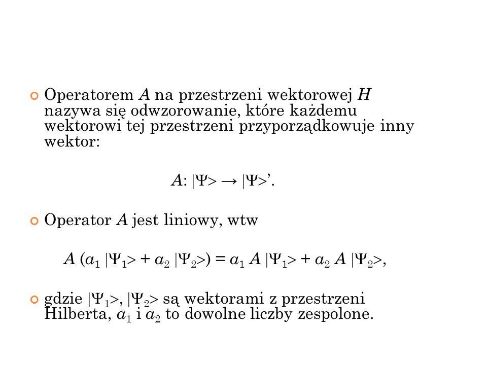 Operatorem A na przestrzeni wektorowej H nazywa się odwzorowanie, które każdemu wektorowi tej przestrzeni przyporządkowuje inny wektor: A :. Operator