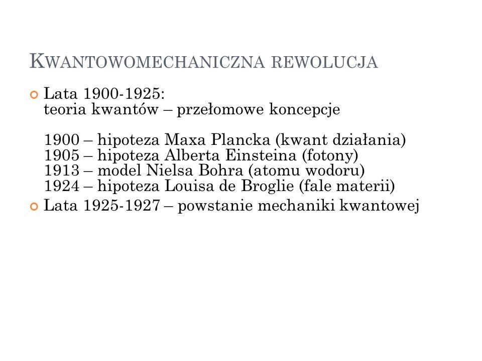 K WANTOWOMECHANICZNA REWOLUCJA Lata 1900-1925: teoria kwantów – przełomowe koncepcje 1900 – hipoteza Maxa Plancka (kwant działania) 1905 – hipoteza Al