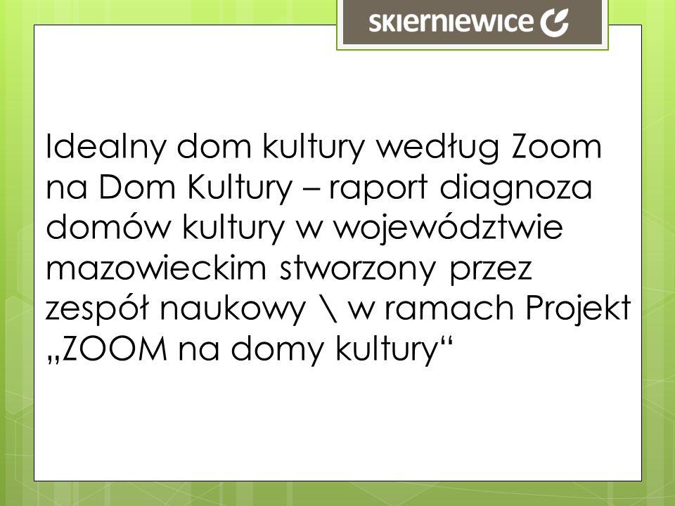 Idealny dom kultury według Zoom na Dom Kultury – raport diagnoza domów kultury w województwie mazowieckim stworzony przez zespół naukowy \ w ramach Pr