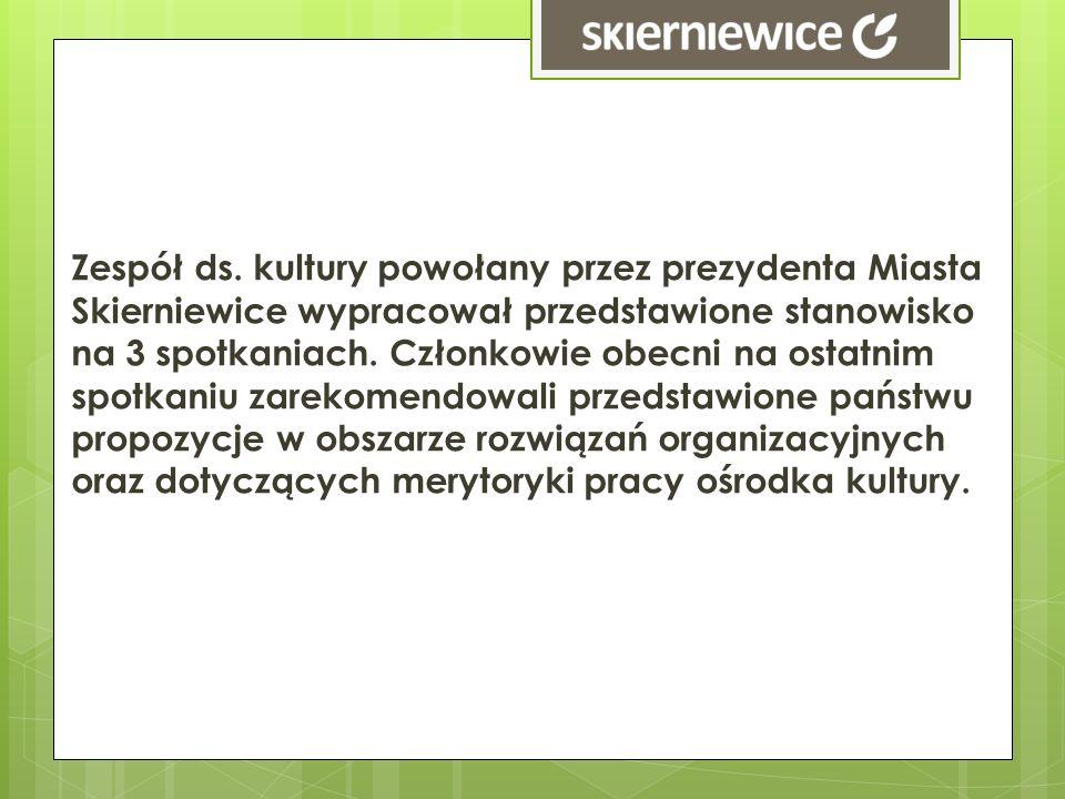 Zespół ds. kultury powołany przez prezydenta Miasta Skierniewice wypracował przedstawione stanowisko na 3 spotkaniach. Członkowie obecni na ostatnim s