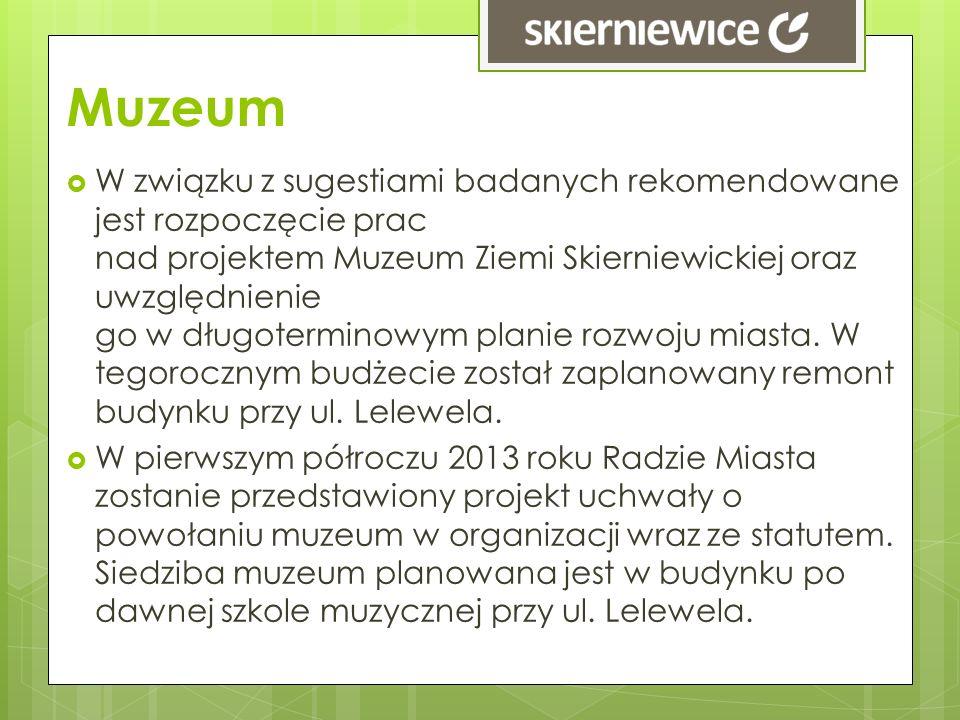 Muzeum W związku z sugestiami badanych rekomendowane jest rozpoczęcie prac nad projektem Muzeum Ziemi Skierniewickiej oraz uwzględnienie go w długoter