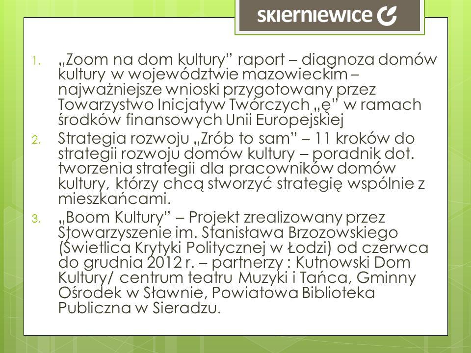 1. Zoom na dom kultury raport – diagnoza domów kultury w województwie mazowieckim – najważniejsze wnioski przygotowany przez Towarzystwo Inicjatyw Twó