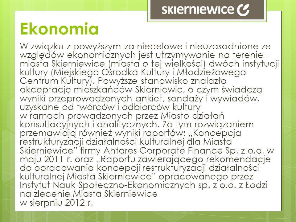 Ekonomia W związku z powyższym za niecelowe i nieuzasadnione ze względów ekonomicznych jest utrzymywanie na terenie miasta Skierniewice (miasta o tej