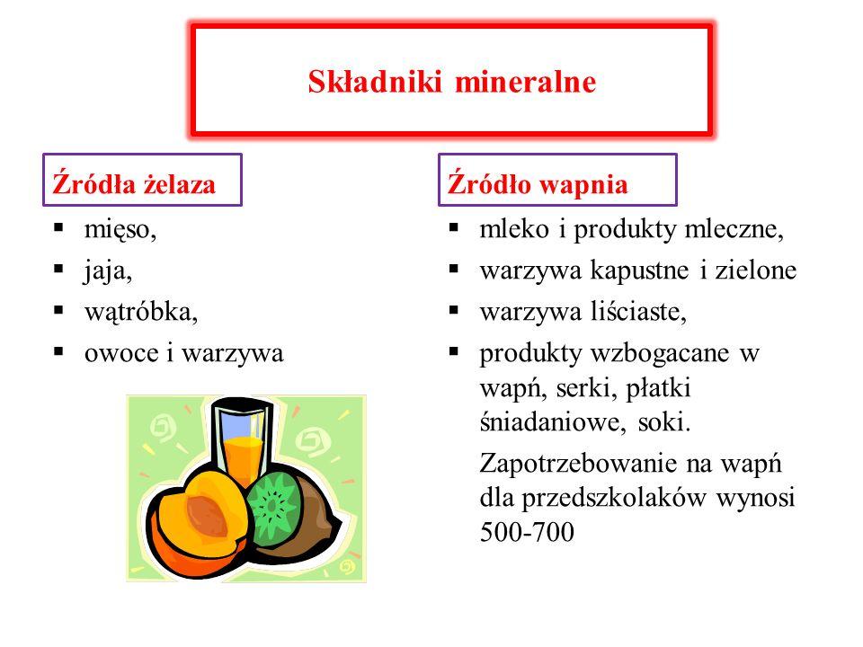 Składniki mineralne Źródła żelaza mięso, jaja, wątróbka, owoce i warzywa Źródło wapnia mleko i produkty mleczne, warzywa kapustne i zielone warzywa li