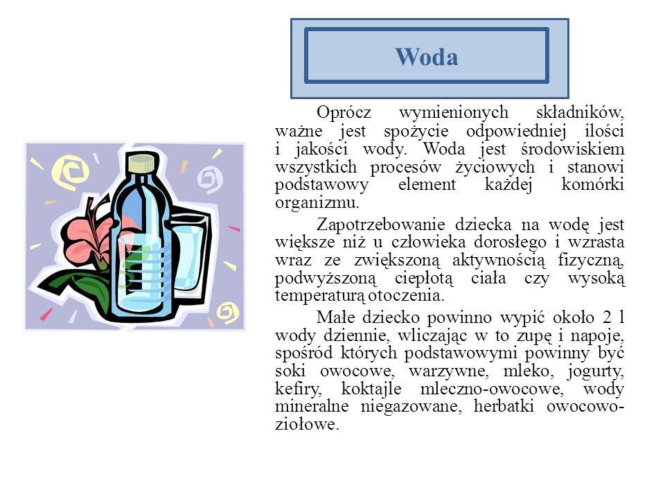 Woda Oprócz wymienionych składników, ważne jest spożycie odpowiedniej ilości i jakości wody. Woda jest środowiskiem wszystkich procesów życiowych i st