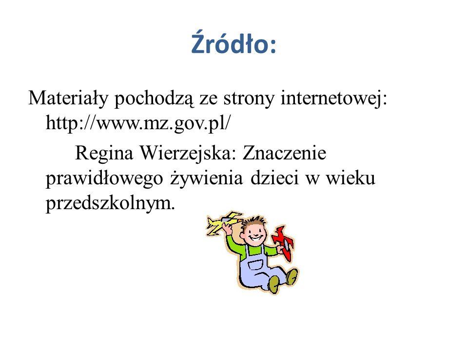 Źródło: Materiały pochodzą ze strony internetowej: http://www.mz.gov.pl/ Regina Wierzejska: Znaczenie prawidłowego żywienia dzieci w wieku przedszkoln