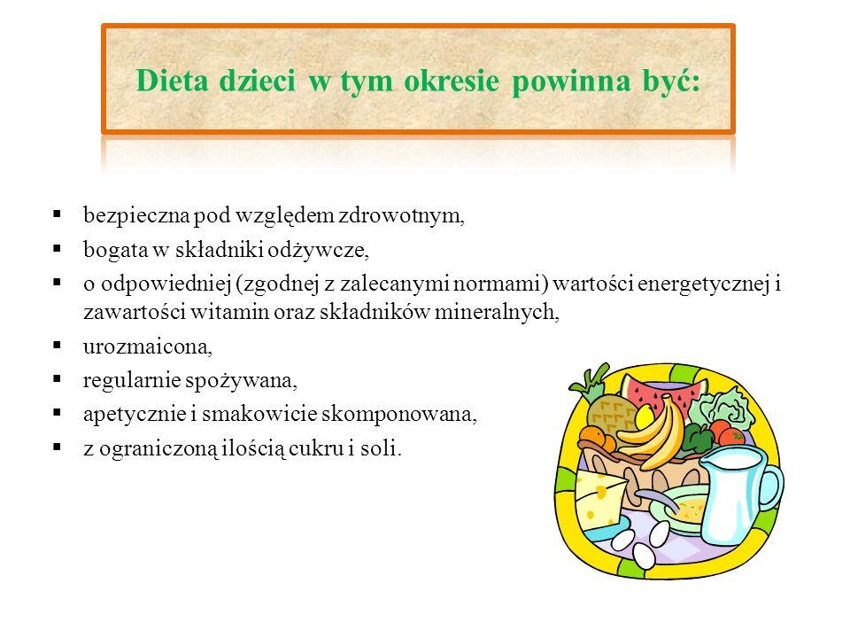 Co powinna zawierać dieta dzieci : owoce i warzywa, produkty z pełnych (niełuskanych) ziaren zbóż, produkty mleczne o małej zawartości tłuszczu, warzywa strączkowe, ryby i chude mięso.
