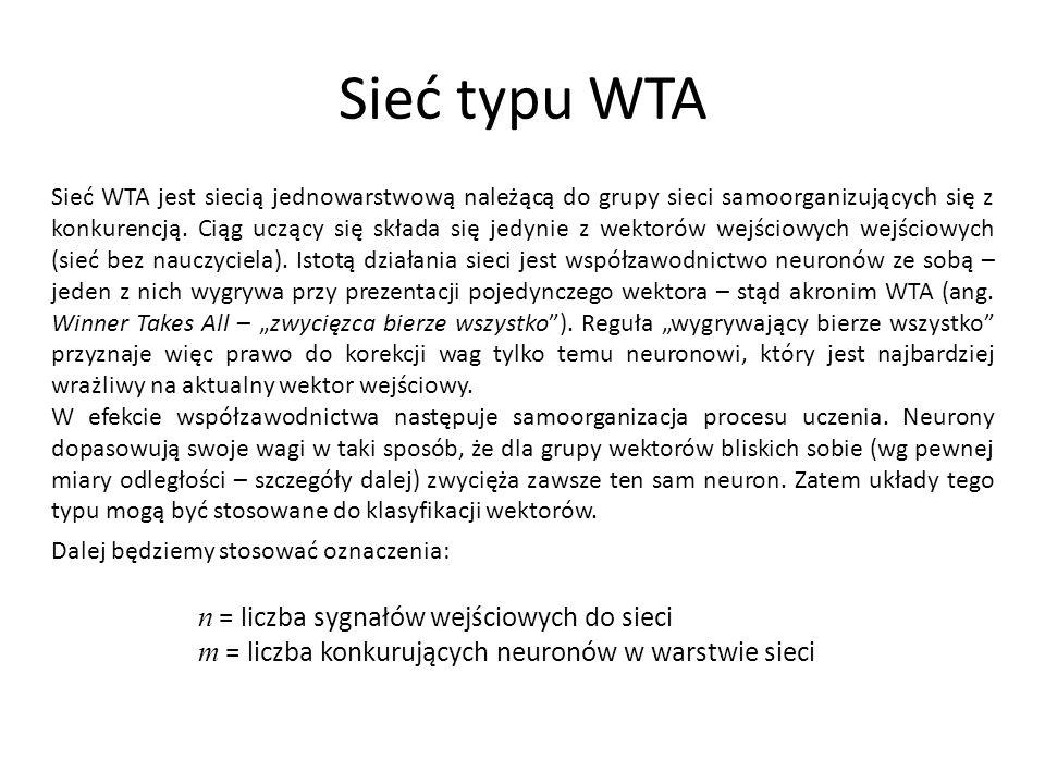 Sieć typu WTA Sieć WTA jest siecią jednowarstwową należącą do grupy sieci samoorganizujących się z konkurencją.