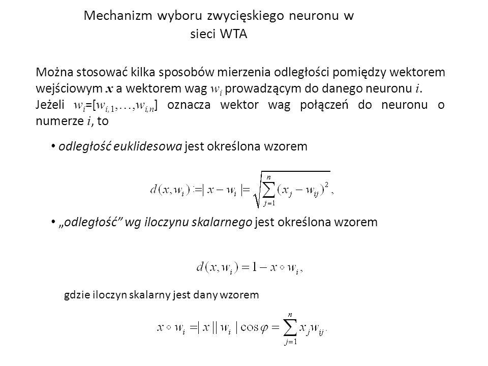Mechanizm wyboru zwycięskiego neuronu w sieci WTA Można stosować kilka sposobów mierzenia odległości pomiędzy wektorem wejściowym x a wektorem wag w i prowadzącym do danego neuronu i.