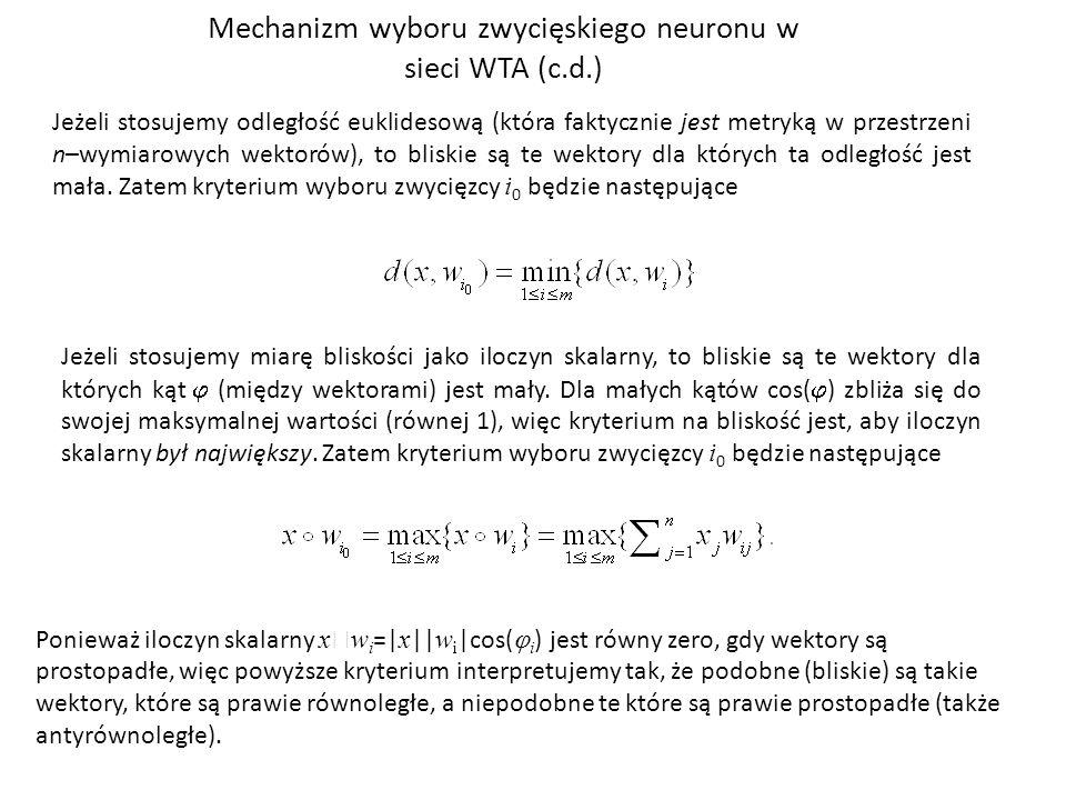 Jeżeli stosujemy odległość euklidesową (która faktycznie jest metryką w przestrzeni n–wymiarowych wektorów), to bliskie są te wektory dla których ta odległość jest mała.