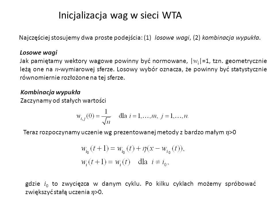 Inicjalizacja wag w sieci WTA Najczęściej stosujemy dwa proste podejścia: (1) losowe wagi, (2) kombinacja wypukła.
