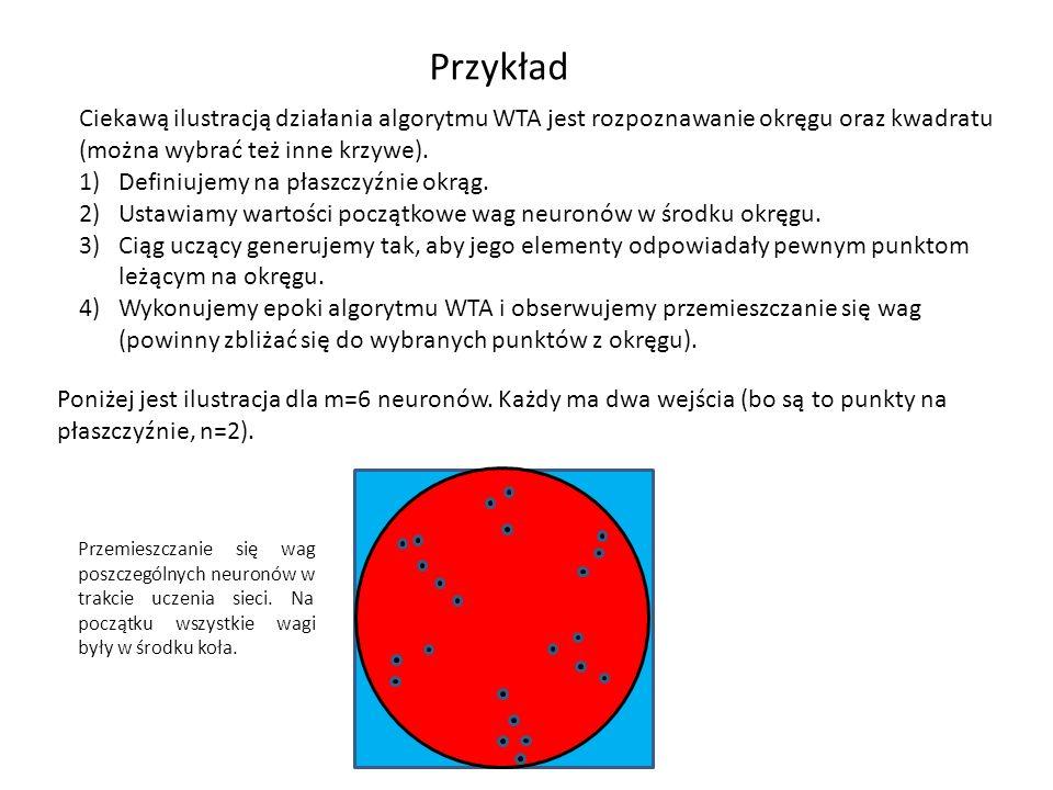Przykład Ciekawą ilustracją działania algorytmu WTA jest rozpoznawanie okręgu oraz kwadratu (można wybrać też inne krzywe).
