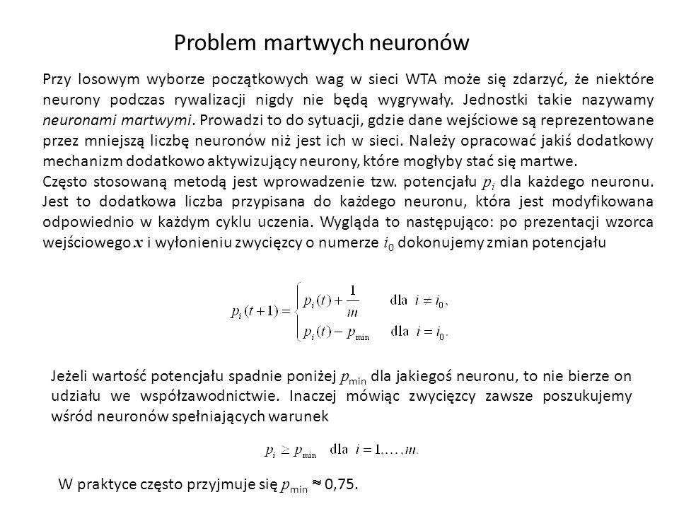 Problem martwych neuronów Przy losowym wyborze początkowych wag w sieci WTA może się zdarzyć, że niektóre neurony podczas rywalizacji nigdy nie będą wygrywały.