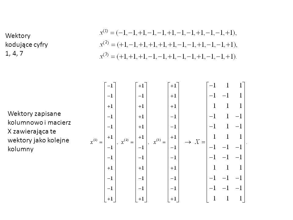 Wektory kodujące cyfry 1, 4, 7 Wektory zapisane kolumnowo i macierz X zawierająca te wektory jako kolejne kolumny