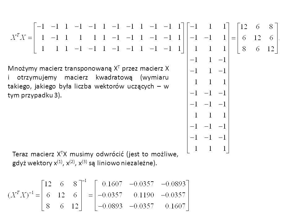 Mnożymy macierz transponowaną X T przez macierz X i otrzymujemy macierz kwadratową (wymiaru takiego, jakiego była liczba wektorów uczących – w tym przypadku 3).