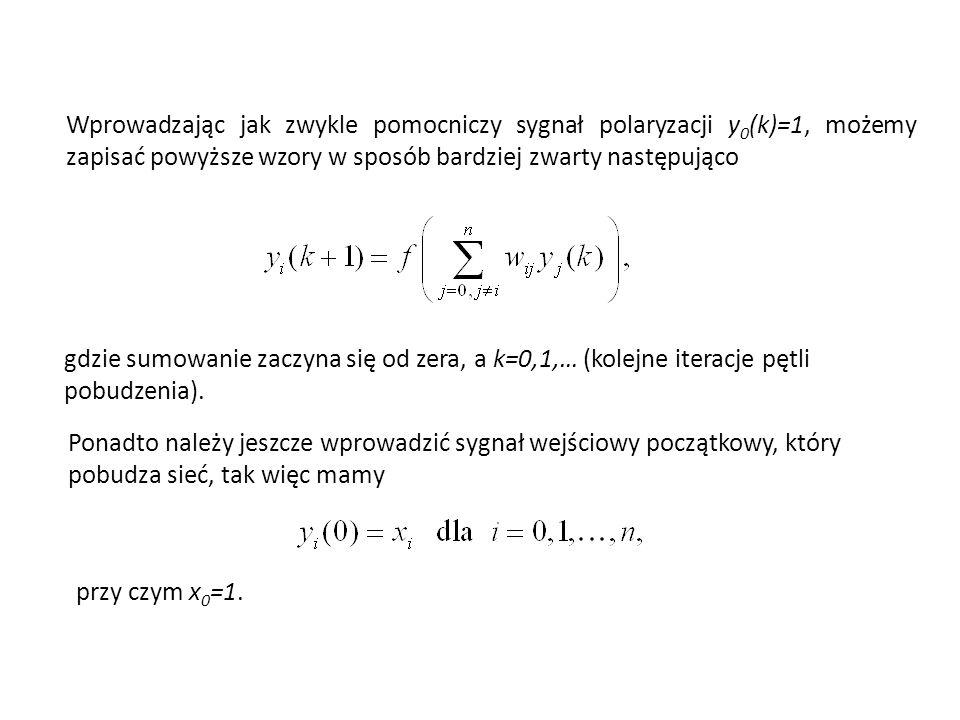 Wprowadzając jak zwykle pomocniczy sygnał polaryzacji y 0 (k)=1, możemy zapisać powyższe wzory w sposób bardziej zwarty następująco gdzie sumowanie zaczyna się od zera, a k=0,1,… (kolejne iteracje pętli pobudzenia).