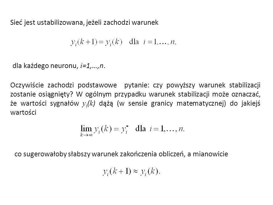 Sieć jest ustabilizowana, jeżeli zachodzi warunek dla każdego neuronu, i =1,…,n.