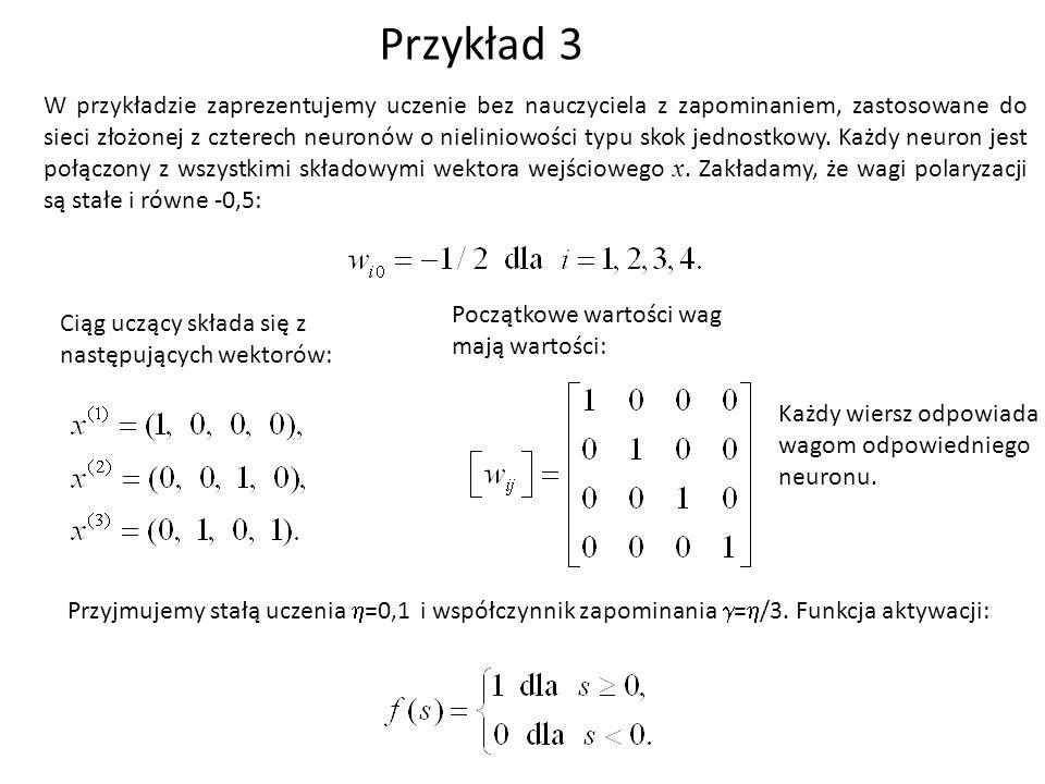 Przykład 3 W przykładzie zaprezentujemy uczenie bez nauczyciela z zapominaniem, zastosowane do sieci złożonej z czterech neuronów o nieliniowości typu skok jednostkowy.