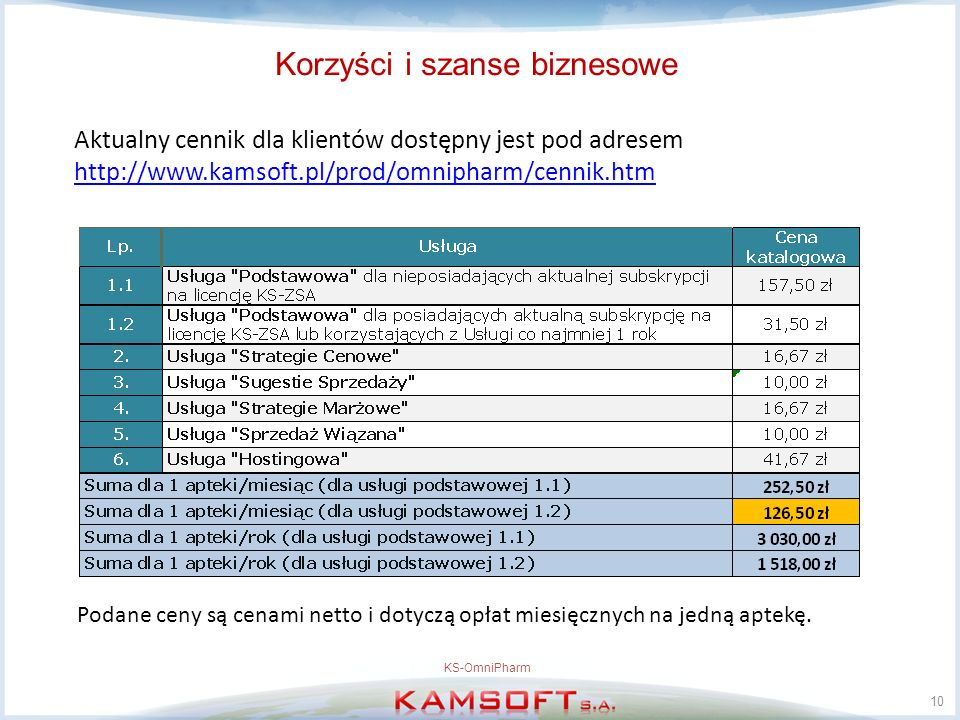 Korzyści i szanse biznesowe Aktualny cennik dla klientów dostępny jest pod adresem http://www.kamsoft.pl/prod/omnipharm/cennik.htm http://www.kamsoft.pl/prod/omnipharm/cennik.htm 10 KS-OmniPharm Podane ceny są cenami netto i dotyczą opłat miesięcznych na jedną aptekę.