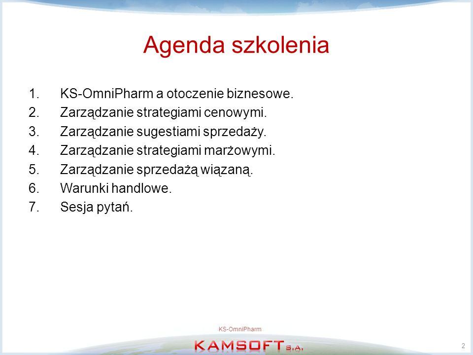 Agenda szkolenia 1.KS-OmniPharm a otoczenie biznesowe. 2.Zarządzanie strategiami cenowymi. 3.Zarządzanie sugestiami sprzedaży. 4.Zarządzanie strategia