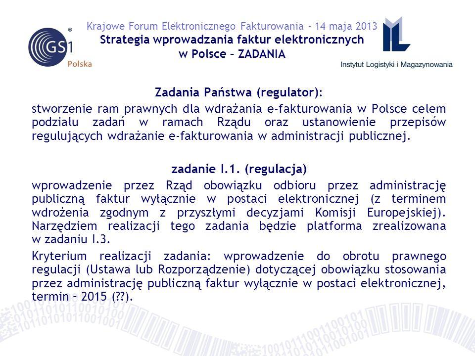 Zadania Państwa (regulator): stworzenie ram prawnych dla wdrażania e-fakturowania w Polsce celem podziału zadań w ramach Rządu oraz ustanowienie przepisów regulujących wdrażanie e-fakturowania w administracji publicznej.