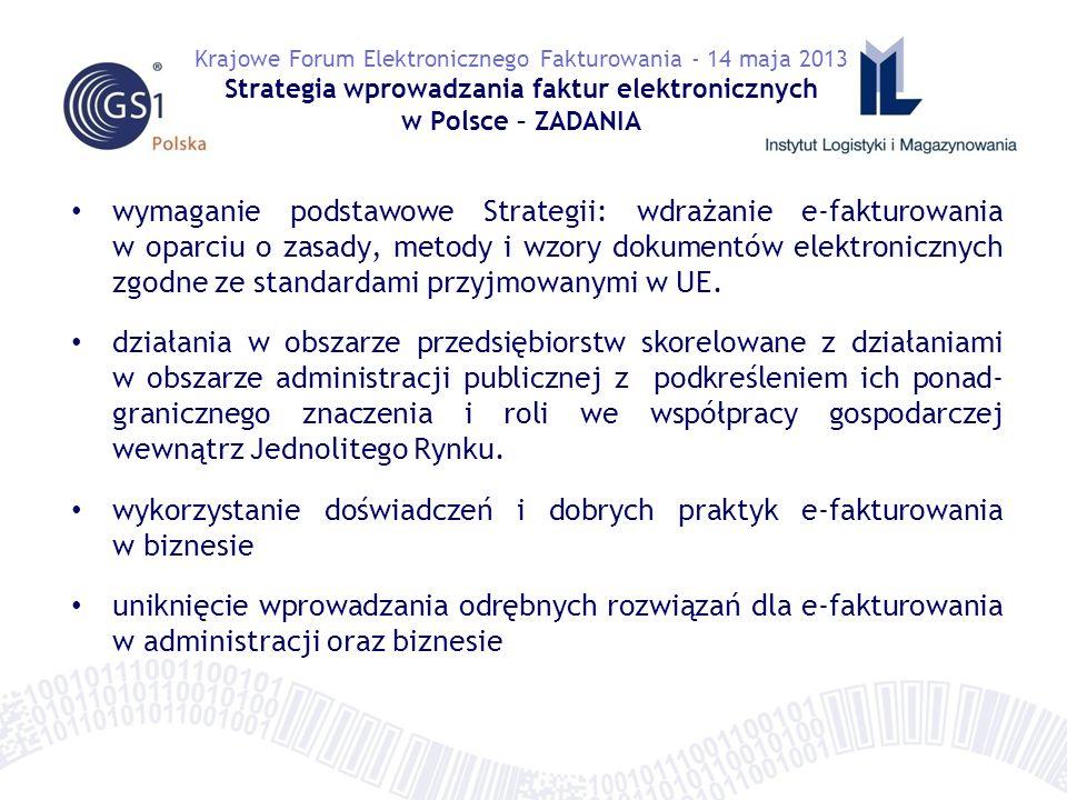 wymaganie podstawowe Strategii: wdrażanie e-fakturowania w oparciu o zasady, metody i wzory dokumentów elektronicznych zgodne ze standardami przyjmowanymi w UE.