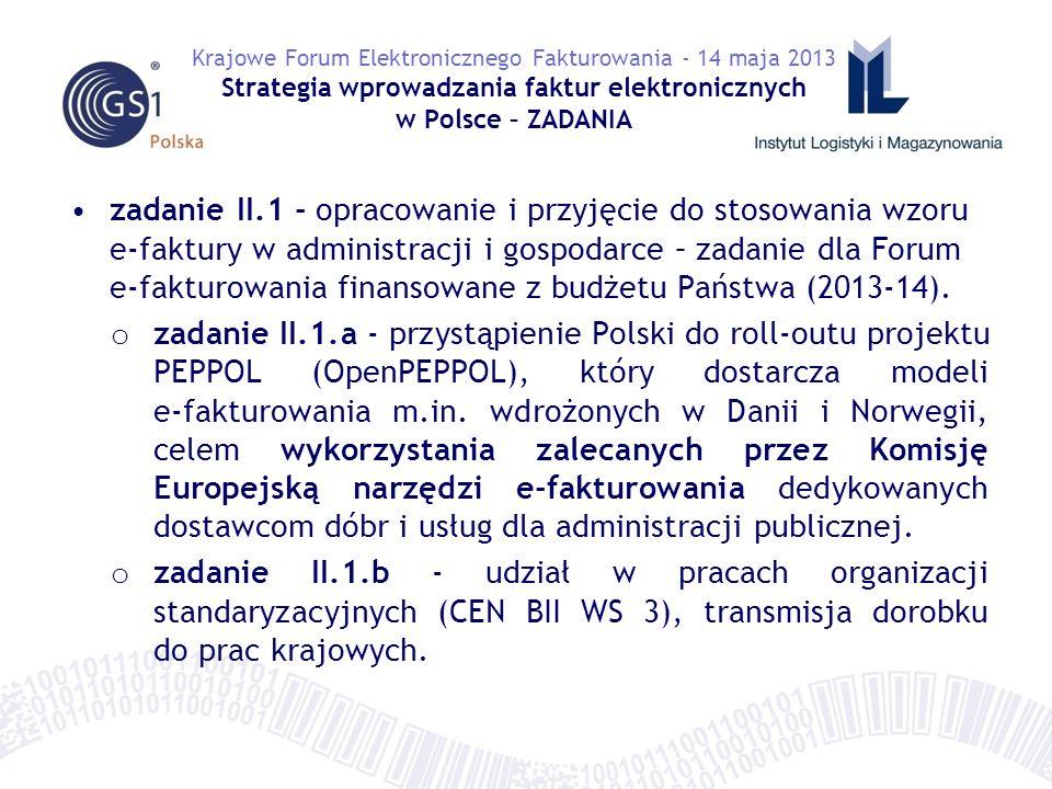 zadanie II.1 - opracowanie i przyjęcie do stosowania wzoru e-faktury w administracji i gospodarce – zadanie dla Forum e-fakturowania finansowane z budżetu Państwa (2013-14).