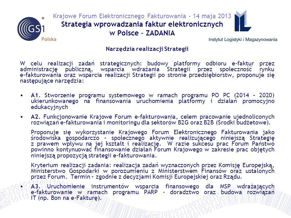 Narzędzia realizacji Strategii W celu realizacji zadań strategicznych: budowy platformy odbioru e-faktur przez administrację publiczną, wsparcia wdrażania Strategii przez społeczność rynku e-fakturowania oraz wsparcia realizacji Strategii po stronie przedsiębiorstw, proponuje się następujące narzędzia: A1.
