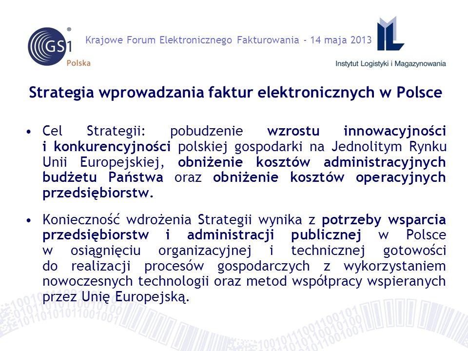 Strategia wprowadzania faktur elektronicznych w Polsce Cel Strategii: pobudzenie wzrostu innowacyjności i konkurencyjności polskiej gospodarki na Jednolitym Rynku Unii Europejskiej, obniżenie kosztów administracyjnych budżetu Państwa oraz obniżenie kosztów operacyjnych przedsiębiorstw.