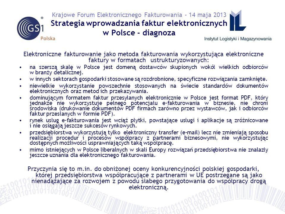 Elektroniczne fakturowanie jako metoda fakturowania wykorzystująca elektroniczne faktury w formatach ustrukturyzowanych: na szerszą skalę w Polsce jest domeną dostawców skupionych wokół wielkich odbiorców w branży detalicznej.