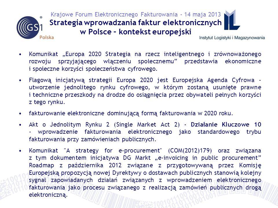A.osiągnięcie przez gospodarkę i administrację publiczną co najmniej średniego poziomu miar statystycznych UE w obszarze elektronicznego fakturowania w kraju i w relacjach ponad-granicznych – wzrost konkurencyjności B.obniżenie kosztów fakturowania w skali całej gospodarki, promocja efektywniejszych metod zarządzania przepływami finansowymi, przepływem dóbr i usług – wzrost efektywności C.stymulacja rozwoju nowych usług i produktów rynku e-fakturowania w obrocie krajowym i ponad-granicznym – wzrost innowacyjności D.rozwój nowych scenariuszy i instrumentów polityki budżetowej oraz fiskalnej Państwa (wprowadzenie metod i narzędzi kontroli fiskalnej, w tym w obszarze unikania podatków, przyśpieszenia płatności i unikania zatorów finansowych w gospodarce) E.poprawę efektywności ekonomicznej działań administracji publicznej i obniżenie kosztów budżetowych Państwa (wsparcie zaopatrzenia administracji publicznej) Krajowe Forum Elektronicznego Fakturowania - 14 maja 2013 Strategia wprowadzania faktur elektronicznych w Polsce – CELE STRATEGICZNE