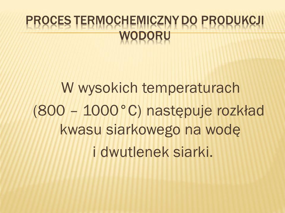 W wysokich temperaturach (800 – 1000°C) następuje rozkład kwasu siarkowego na wodę i dwutlenek siarki.
