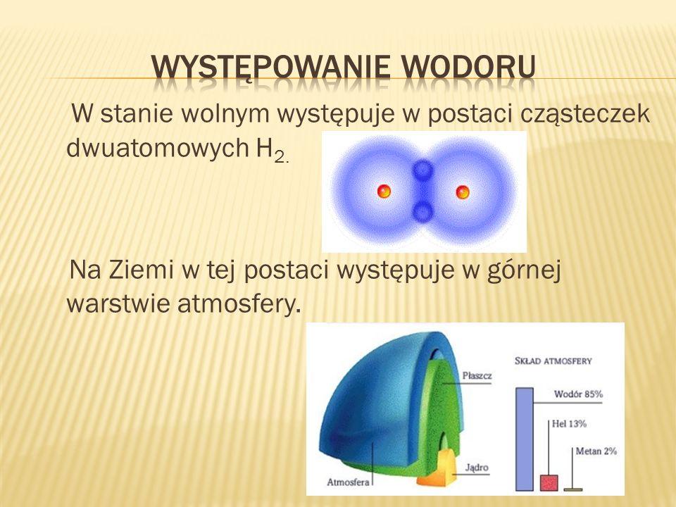 W stanie wolnym występuje w postaci cząsteczek dwuatomowych H 2. Na Ziemi w tej postaci występuje w górnej warstwie atmosfery.