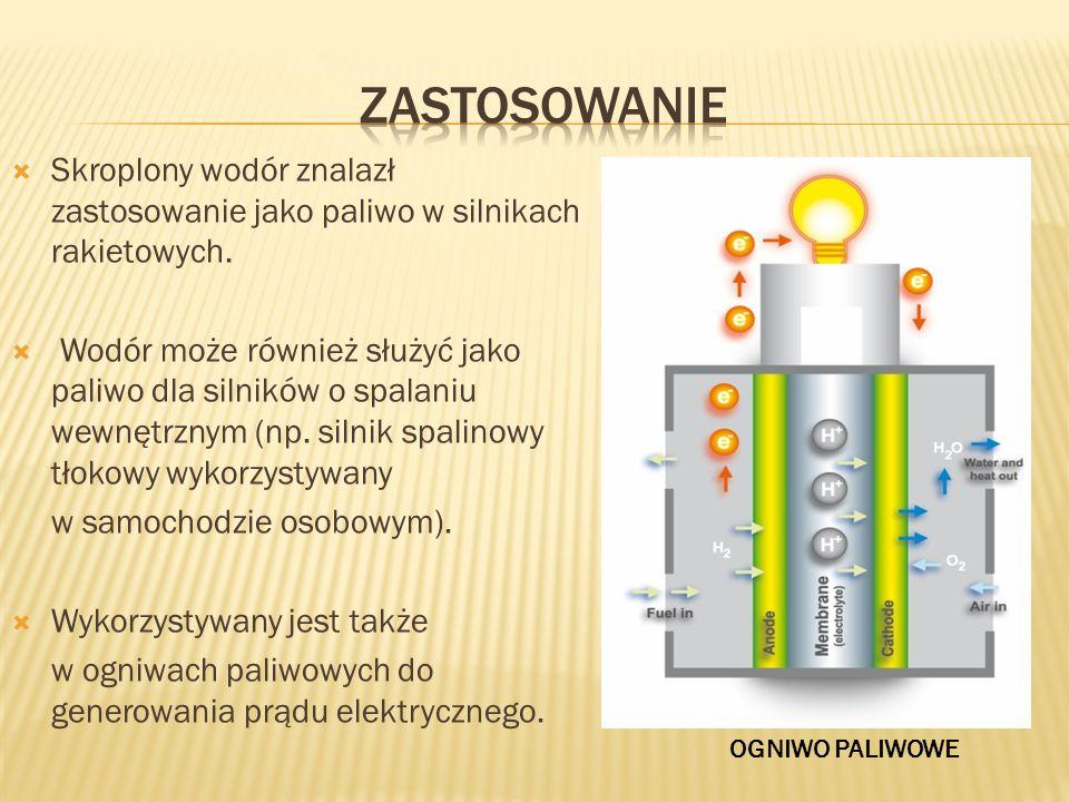 Skroplony wodór znalazł zastosowanie jako paliwo w silnikach rakietowych. Wodór może również służyć jako paliwo dla silników o spalaniu wewnętrznym (n