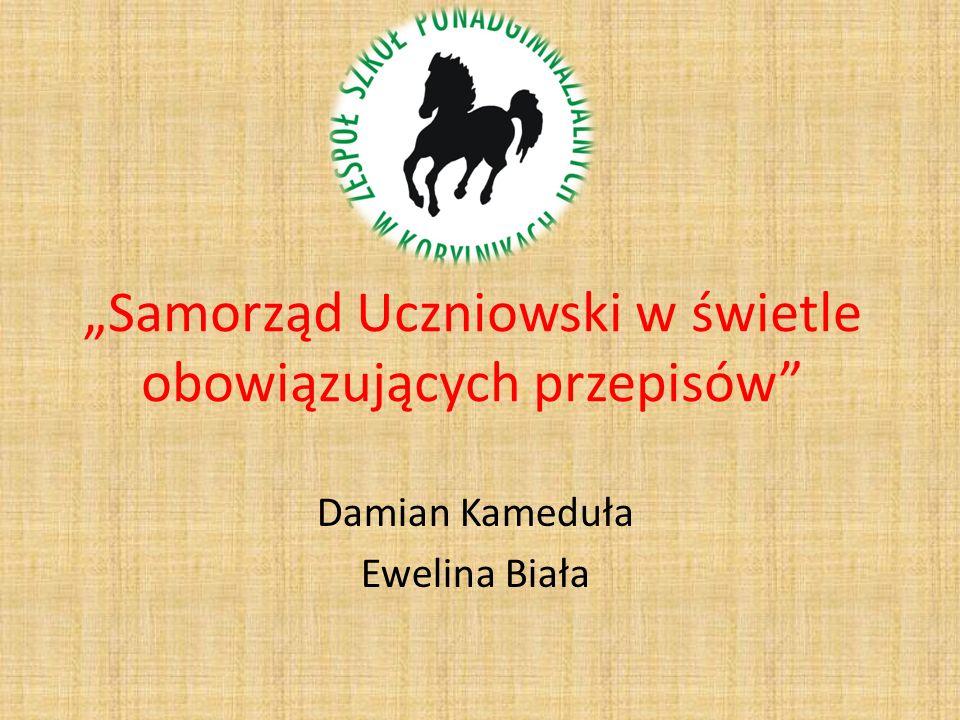 Samorząd Uczniowski w świetle obowiązujących przepisów Damian Kameduła Ewelina Biała