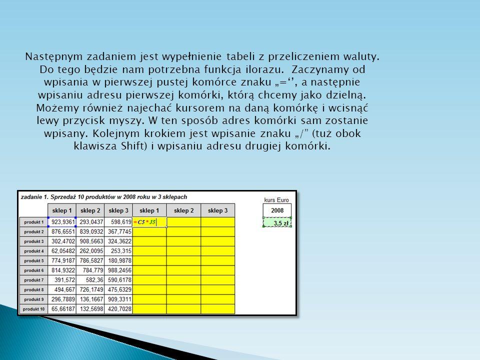 Następnym zadaniem jest wypełnienie tabeli z przeliczeniem waluty. Do tego będzie nam potrzebna funkcja ilorazu. Zaczynamy od wpisania w pierwszej pus