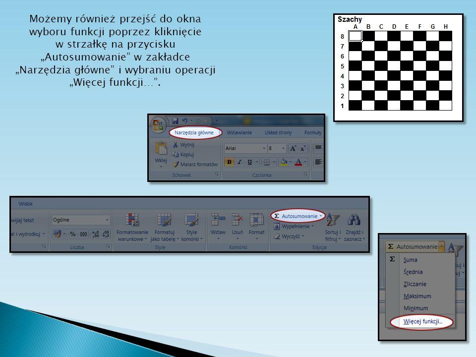 Możemy również przejść do okna wyboru funkcji poprzez kliknięcie w strzałkę na przycisku Autosumowanie w zakładce Narzędzia główne i wybraniu operacji